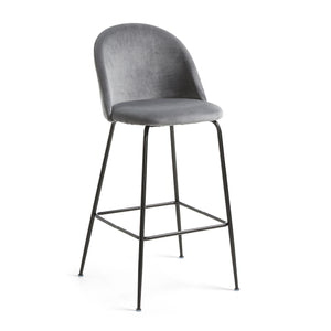 Marcel Velvet Kitchen Bar Stool in Black/Grey