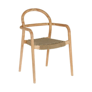 Garrett Eucalyptus Wood Dining Chair in Beige