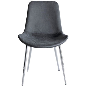 Chase Fabric Dining Chair with Chrome Legs/Charcoal Seat