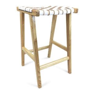 Johansen Buffalo Leather Bar Stool in Natural/White