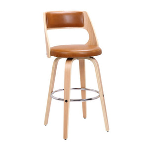 Sabrina 71cm Seat Height Bar Stool in Oak/Tan