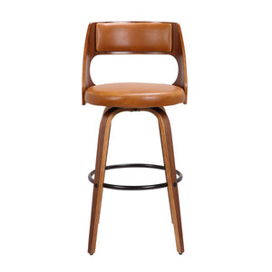 Sabrina 71cm Seat Height Bar Stool in Walnut/Tan