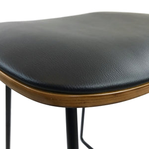 Blake Leather Bar Stool in Black