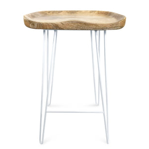 Karlton 69cm Bar Stool with Mango Wood Seat/White Frame