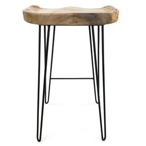 Karlton 69cm Bar Stool with Mango Wood Seat/Black Frame