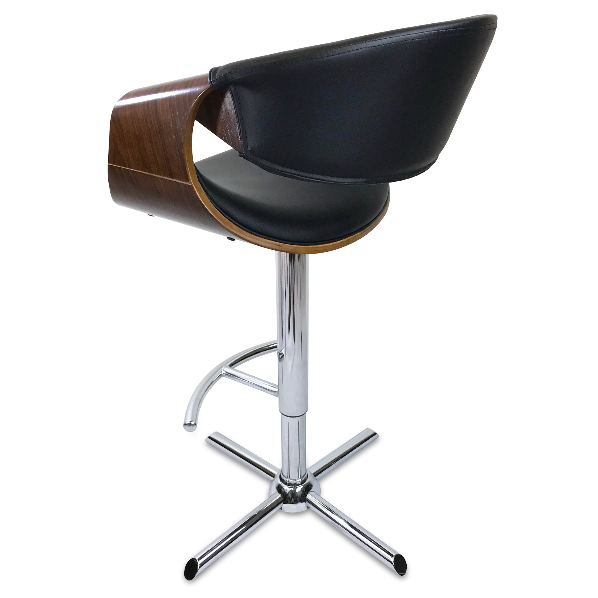 Phenomenal Max Leather Bar Stool In Walnut Black Andrewgaddart Wooden Chair Designs For Living Room Andrewgaddartcom