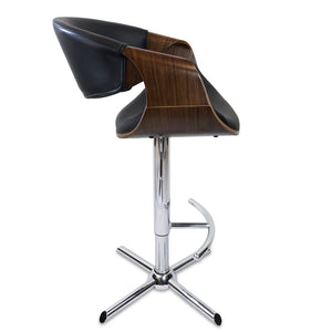 Max Leather Bar Stool in Walnut/Black