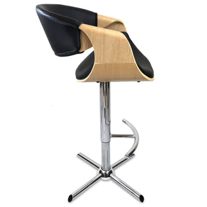 Max Leather Bar Stool in Oak/Black
