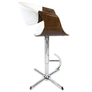 Max Leather Bar Stool in Walnut/White