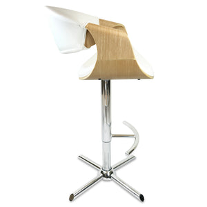 Max Leather Bar Stool in Oak/White