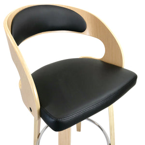 Amy Leather Bar Stool in Oak/Black