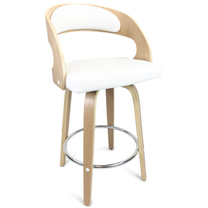 Amy Leather Bar Stool in Oak/White