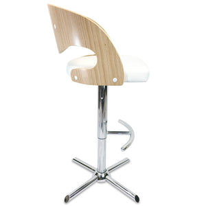 Como Leather Bar Stool in Oak/White