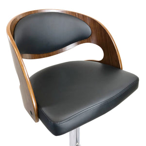 Como Leather Bar Stool in Walnut/Black