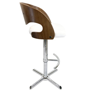 Como Leather Bar Stool in Walnut/White