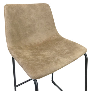 Chase Suede Bar Stool with Black Frame/Tan Seat