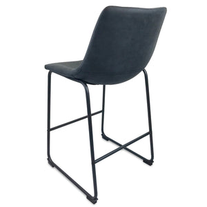 Chase Suede Bar Stool with Black Frame/Charcoal Seat