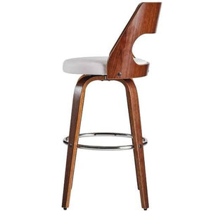 Sabrina 71cm Seat Height Bar Stool in Walnut/White