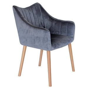 Donovan Velvet Dining Chair in Grey