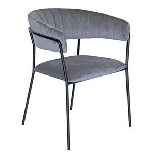 Tobias Velvet Dining Chair in Grey