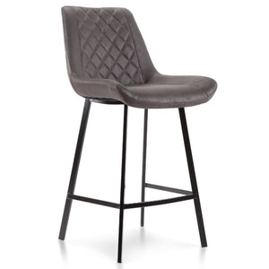 Kace Suede Kitchen Bar Stool in Charcoal