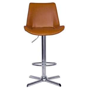 Emery Leatherette Bar Stool in Chrome/Tan