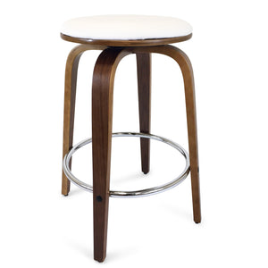 Dani Leather Bar Stool in Walnut/White