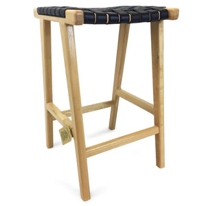Johansen Buffalo Leather Bar Stool in Natural/Black