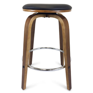 Dani Leather Bar Stool in Walnut/Black
