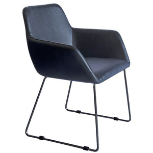 Alistair Leatherette Dining Chair in Black