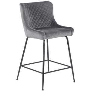 Easton Velvet Kitchen Bar Stool in Grey
