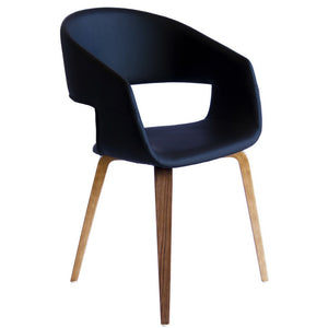 Brooke Leatherette Dining Chair in Walnut/Black