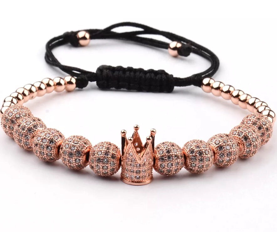 18k Rose Gold Crown Bracelet Half