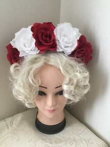FRIDA .. red and white rose flower crown