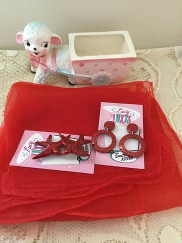 Pinup starter pack ... RED .. scarf , earrings & brooch