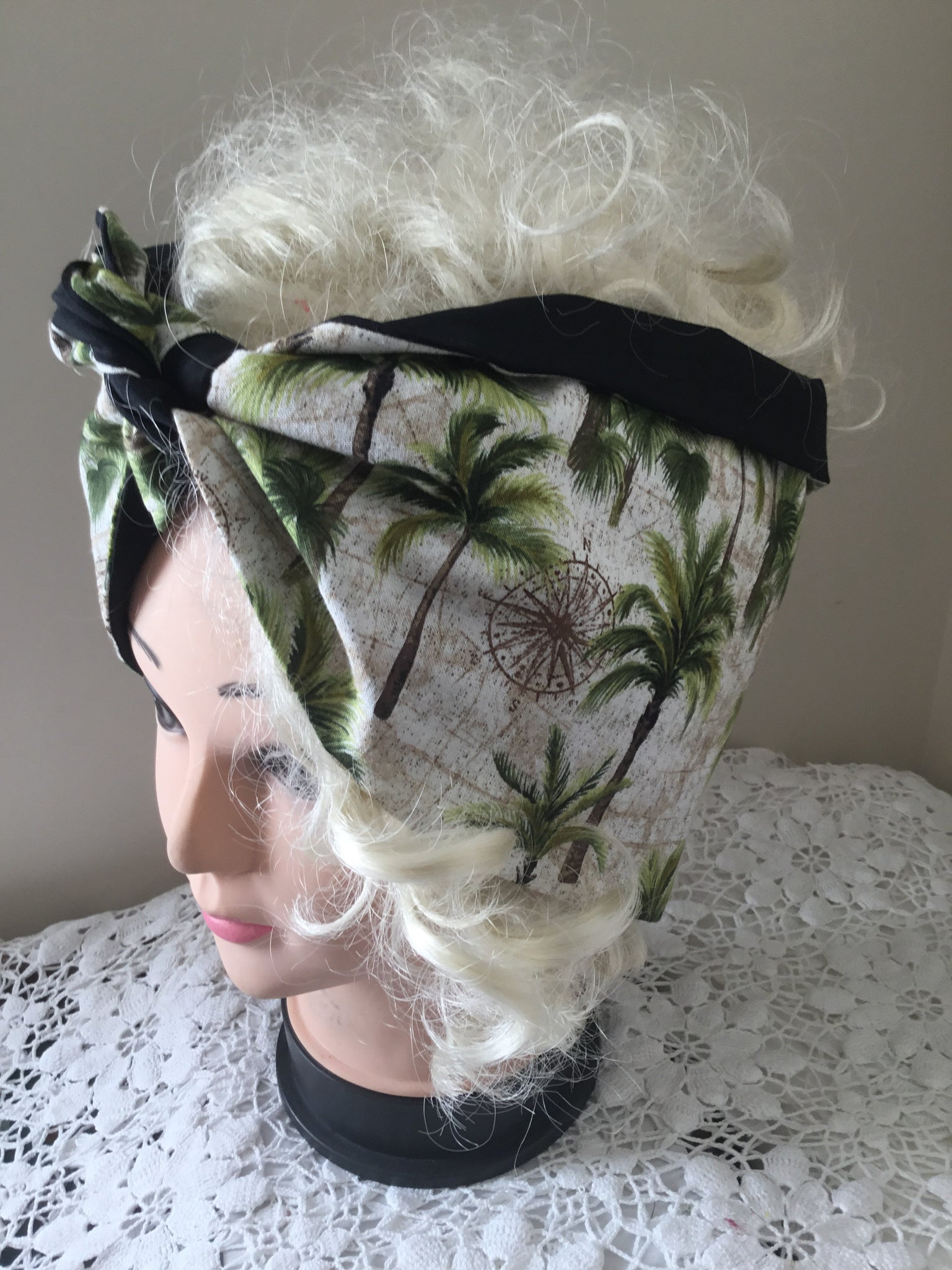 Palm tree ..vintage inspired do rag reversible hair scarf