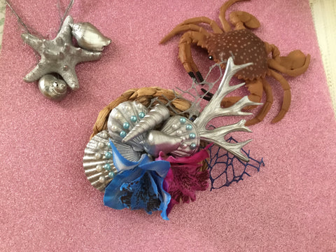 MERMAID COVE .. bespoke shell cluster fascinator.. blue / purple orchids