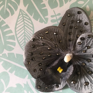 Beautiful AB rhinestone orchid clip - slate grey