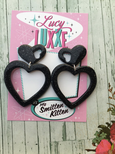BRIGITTE.. hold my heart hoop earrings .. BLACK