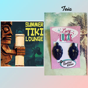TEIA - tiki lounge earrings - Dark blue