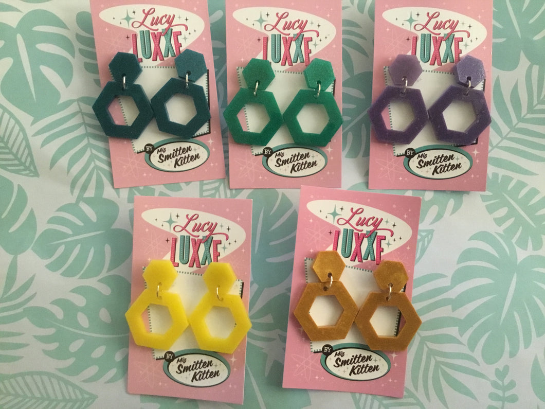 NEW - GINGER hexagon pearl affect hoops - various colours SECONDS