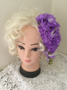 LOLA ... vintage inspired cascading cluster hairpiece ...PURPLE