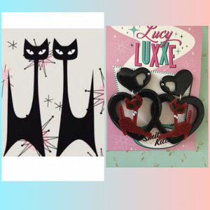 Atomic cat big  heart earrings ... red