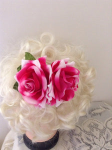 Hot pink double velvet rose comb