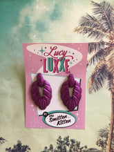 Load image into Gallery viewer, TEIA - tiki lounge earrings - Purple glitter