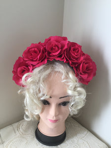FRIDA ...  hot pink rose flower crown