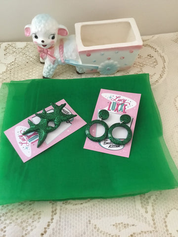 Pinup starter pack ..GREEN ... scarf , earrings & brooch