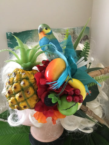MARLEY . Parrot and pineapple .. large bespoke tropical cluster .. hairpiece