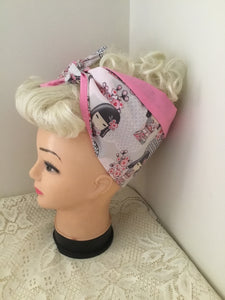 JAPANESE Doll - vintage inspired do-rag - pink