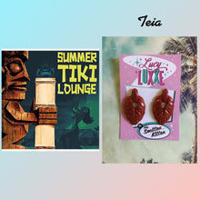Load image into Gallery viewer, TEIA - tiki lounge earrings - Red glitter